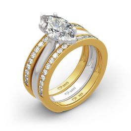 Jeulia Two Tone Marquise Cut Sterling Silver Enhancer Ring Set