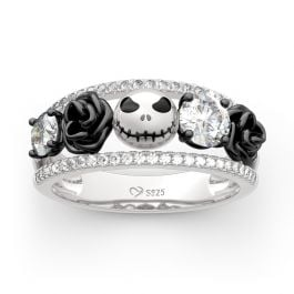 Jeulia Floral Design Round Cut Sterling Silver Jack Skull Ring