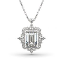 Jeulia Vintage Leaf Halo Emerald Cut Sterling Silver Necklace