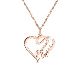 Jeulia Overlapping Heart Two Name Necklace