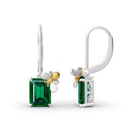 "Jeulia ""Honey Bee"" Emerald Cut Sterling Silver Earrings"