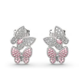 "Jeulia ""Spring is Coming"" Two Butterfly Sterling Silver Earrings"