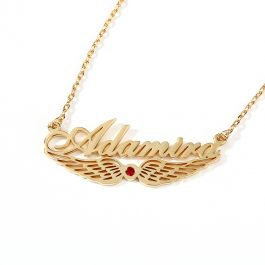 """Jeulia """"Angel Wings"""" Personalized Sterling Silver Name Necklace with Birthstone"""