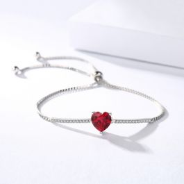 "Jeulia ""Eternal Love"" Heart Cut Sterling Silver Bracelet"