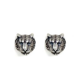 "Jeulia ""King of The Forest"" Punk Style Tiger Head Sterling Silver Earrings"