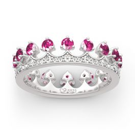 """Jeulia """"Be Your King"""" Crown Shape Round Cut Sterling Silver Ring"""