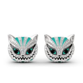 """Jeulia """"Appear and Disappear at Will"""" Cat Sterling Silver Enamel Earrings"""
