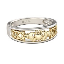 Jeulia Two Tone Claddagh Sterling Silver Women's Band