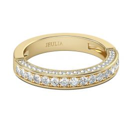 Jeulia Gold Tone Round Cut Sterling Silver Women's Band