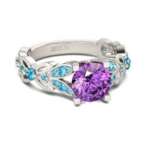Jeulia Butterfly Round Cut Sterling Silver Ring