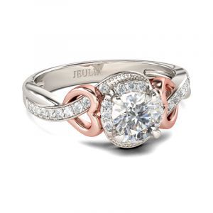 Jeulia Two Tone Heart Design Round Cut Sterling Silver Ring
