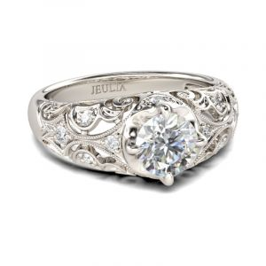 Jeulia Vintage Scrollwork Round Cut Sterling Silver Ring