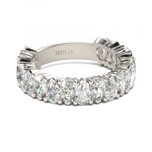 Jeulia Classic Pear Cut Sterling Silver Women's Band