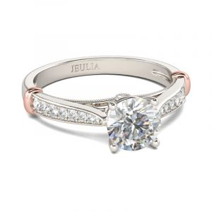 Jeulia  Two Tone Classic Round Cut Sterling Silver Ring