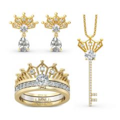 Jeulia Crown Pear Cut Sterling Silver Jewelry Set