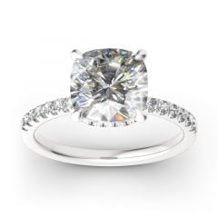 Jeulia Classic Cushion Cut Sterling Silver Ring