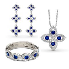 Jeulia Lucky Flower Sterling Silver Jewelry Set