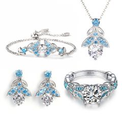 Jeulia Butterfly Round Cut Sterling Silver Jewelry Set