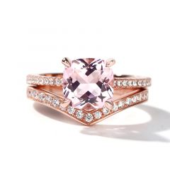 Jeulia Cushion Cut Synthetic Morganite Sterling Silver Ring Set