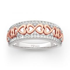 "Jeulia ""Eternity Love"" Two Tone Infinity Sterling Silver Women's Band"
