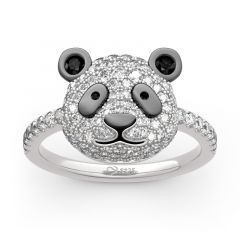 "Jeulia ""Be Calm and Steady"" Cute Panda Sterling Silver Ring"