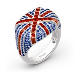 "Jeulia ""The Best Memories in UK"" British Flag Sterling Silver Ring"