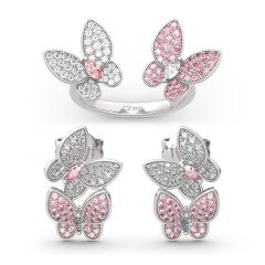 "Jeulia ""Spring is Coming"" Two Butterfly Sterling Silver Jewelry Set"