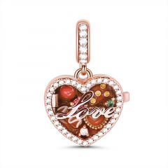 """A Box Of Love"" Sterling Silver Locket Charm Pendant"