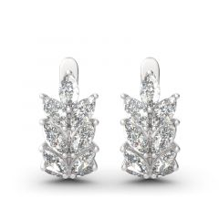 Jeulia Leaf Design Marquise Cut Sterling Silver Hoop Earrings
