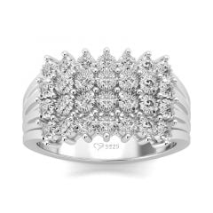 Jeulia Multiple Rows Round Cut Sterling Silver Ring