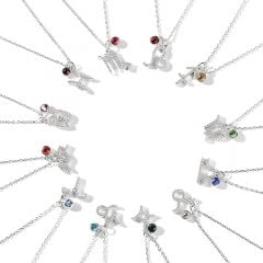 Jeulia Constellation Sterling Silver Personalized Necklace With Birthstone
