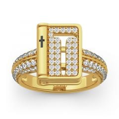 "Jeulia ""Bible"" Hammer And Cross Sterling Silver Ring"
