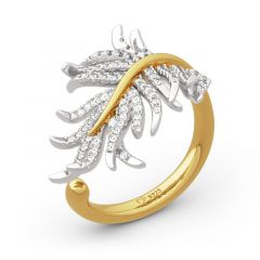 Jeulia Two Tone Feather Sterling Silver Ring