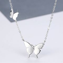 """Jeulia """"Two Butterfly"""" Sterling Silver Necklace"""