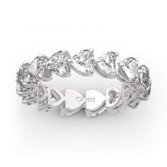 Jeulia Classic Heart Cut Sterling Silver Eternity Band