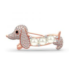 Jeulia Cute Dog Design Cultured Pearl Sterling Silver Brooch