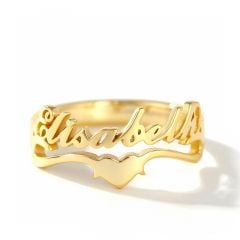 "Jeulia ""Keep Love in Your Heart"" Personalized Sterling Silver Name Ring"