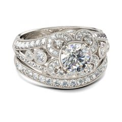 Jeulia  Vintage Round Cut Sterling Silver Ring Set