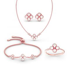 Jeulia Clover Cultured Pearl Sterling Silver Jewelry Set