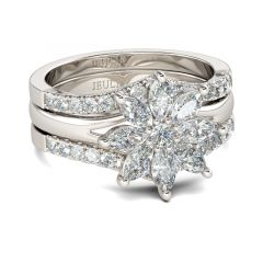 Jeulia  Flower Marquise Cut Sterling Silver Ring Set