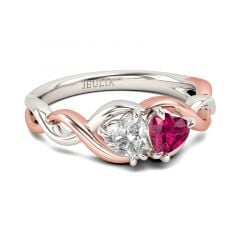 Jeulia Two Tone Twist Heart Cut Sterling Silver Ring