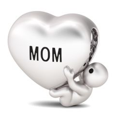 """I love You Mom"" Sterling Silver Heart Shaped Bead Charm"