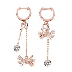 Jeulia Knot Sterling Silver Mismatched Earrings