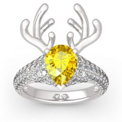 "Jeulia ""Christmas Reindeer""Antler Pear Cut Sterling Silver Animal Ring"
