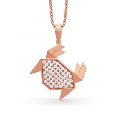 Jeulia Paper-folding Style Crab Pendant Sterling Silver Necklace