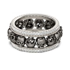 Jeulia Two Tone Sterling Silver Skull Ring