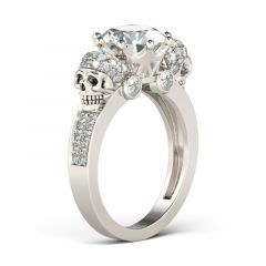 Jeulia Two Skull Design Round Cut Sterling Silver Skull Ring