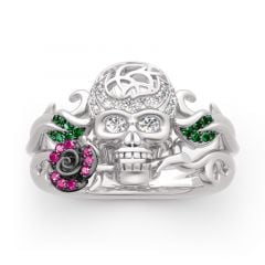 "Jeulia ""Forever Romance"" Skull and Rose Sterling Silver Ring"