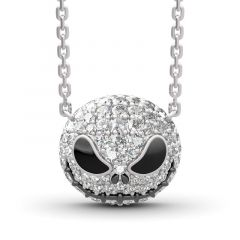 "Jeulia ""Pumpkin King"" ""Jack Skull"" Sterling Silver Skull Necklace"
