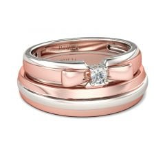 Jeulia Two Tone Bowknot Round Cut Sterling Silver Band Set